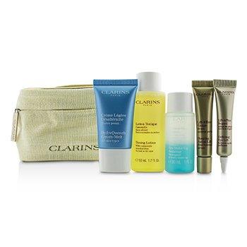 Clarins Set de Viaje: Loción Tónica 50ml+Removedor Maquillaje Ojos 30ml+HydraQuench Crema 15ml+Suero Contorno 10ml+Defining Eye Lift 8ml  5pcs+1Bag