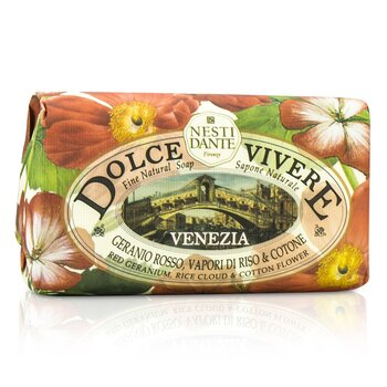 Dolce Vivere Fine Natural Soap - Venezia - Red Geranium, Rice Cloud & Cotton Flower  250g/8.8oz