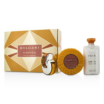 Bvlgari Omnia Indian Garnet Coffret: Eau De Toilette Spray 15ml/0.5oz + Scented Soap 150g/5.3oz + Body Lotion 75ml/2.5oz  3pcs