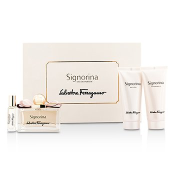 Salvatore Ferragamo Signorina Coffret: Eau De Parfum Spray 100ml/3.4oz + Body Lotion 100ml/3.4oz + Bath & Shower Gel 100ml/3.4oz + Roll On 7ml/0.24oz  4pcs