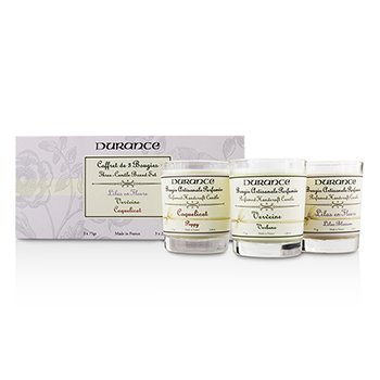 Durance Three-Candle Boxed Set: Poppy, Verbena & Lilac Blossom  3x75g/2.64oz