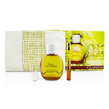 Clarins Eau Des Jardins Coffret: Fragrance Spray 100ml/3.3oz + Refillable Spray 10ml/0.3oz + Refill Funnel + Bag  3pcs+1bag