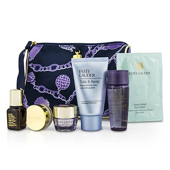 Estee Lauder Travel Set: Makeup Remover + Optimizer + ANR II + Eye Cream + Eye Mask + Lip Conditioner + Bag  6pcs+1bag