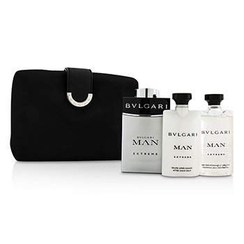 Bvlgari Man Extreme Coffret: Eau De Toilette Spray 100ml/3.4oz + B�lsamo para Despu�s de Afeitar 75ml/2.5oz + Champ� & Gel de Ducha 75ml/2.5oz + Bag  3pcs+1bag