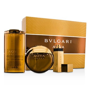 Bvlgari Aqva Amara Coffret: Eau De Toilette Spray 100ml/3.4oz + Champú & Gel de Ducha 200ml/6.8oz + Eau De Toilette Spray 15ml/0.5oz  3pcs