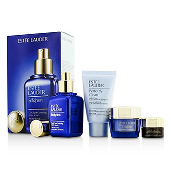 Estée Lauder Skintone/Spot Correction Set: Enlighten Serum 50ml + Creme 15ml + ANR Eye Complex II 5ml + Perfectly Clean 30ml  4pcs