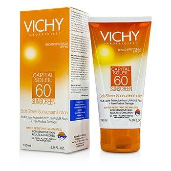 Vichy Capital Soleil Soft Sheer Sunscreen Lotion For Face & Body SPF 60 - תחליב הגנה שקוף רך לפנים ולגוף  150ml/5oz