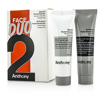 Anthony Logistics For Men Face Duo Kit: Glycolic Facial Cleanser 30ml + All Purpose Facial Moisturizer 30ml  2pcs