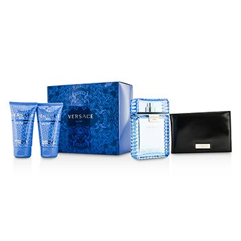 Versace Eau Fraiche Coffret: Eau De Toilette Spray 100ml/3.4oz + Bálsamo para Después de Afeitar 50ml/1.7oz + Gel de Ducha & Baño 50ml/1.7oz + Black Wallet  4pcs