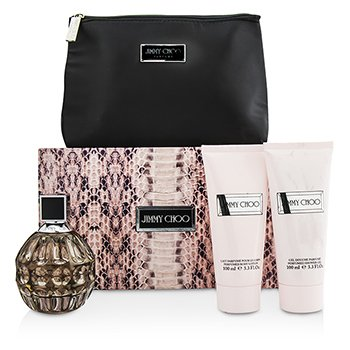Jimmy Choo Jimmy Choo Coffret: Eau De Parfum Spray 100ml/3.3oz + Body Lotion 100ml/3.3oz + Shower Gel 100ml/3.3oz +Pouch  3pcs+Pouch