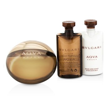 Aqva Amara Coffret: Eau De Toilette Spray 100ml/3.4oz + After Shave Balm 75ml/2.5oz + Shower Gel 75ml/2.5oz + Pouch 3pcs+1pouch