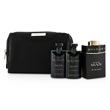 Bvlgari In Black Coffret: Eau De Parfum Spray 100ml/3.4oz + B�lsamo para Despu�s de Afeitar 75ml/2.5oz + Gel de Ducha 75ml/2.5oz + Pouch  3pcs+1pouch