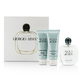 Giorgio Armani Acqua Di Gioia Coffret: Eau De Parfum Spray 50ml/1.7oz + Loci�n Corporal 75ml/2.5oz + Gel de Ducha 75ml/2.5oz  3pcs