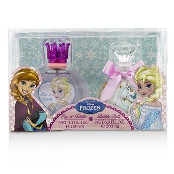 Air Val International Disney Frozen Coffret: Eau De Toilette Spray 100ml/3.4oz + Baño de Burbujas 200ml/6.8oz  2pcs
