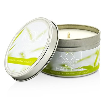 Eco-Luxury Aromacology Natural Wax Candle Tin - Happiness (Coconut & Lime)  230g/8oz