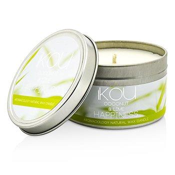 iKOU エコラグジュアリー アロマコロジー ナチュラルワックスキャンドル 缶 - ハピネス (ココナッツ&ライム)  230g/8oz