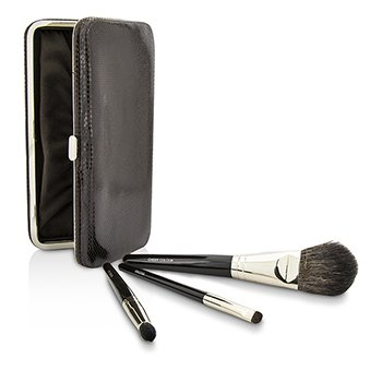 Travel Brush Kit: 1x Cheek Colour Brush, 1x Smudge Brush, 1x Eye Crease Brush, 1x Case (Unboxed)  3pcs+1case