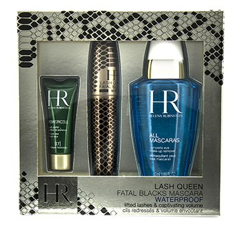 Helena Rubinstein Lash Queen Fatal Blacks Waterproof Mascara Kit: Mascara 7.2ml/0.24oz + MakeUp Remover 50ml/1.69oz + Powercell 3ml/0.15oz  3pcs