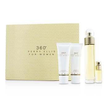 Perry Ellis 360 Coffret: Eau De Toilette Spray 100ml/3.4oz + Loción Corporal 90ml/3oz + Gel de Ducha 90ml/3oz + EDT Spray 7.5ml/0.25oz  4pcs