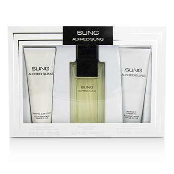 Alfred Sung Sung Coffret: Eau De Toilette Spray 100ml/3.4oz + Loción Corporal 75ml/2.5oz + Gel de Ducha 75ml/2.5oz  3pcs
