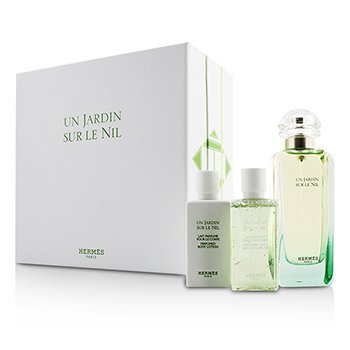 Hermes Un Jardin Sur Le Nil Coffret: Eau De Toilette Spray 100ml/3.3oz + Body Lotion 40ml/1.35oz + Shower Gel 40ml/1.35oz  3pcs