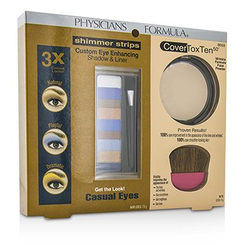 Physicians Formula Makeup Set 8658: 1x Shimmer Strips Eye Enhancing Shadow, 1x CoverToxTen50 Face Powder, 1x Applicator  3pcs