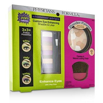 Physicians Formula Makeup Set 8661: 1x Shimmer Strips oči zvýrazňující stíny, 1x pudrová paleta, 1x aplikátor  3pcs