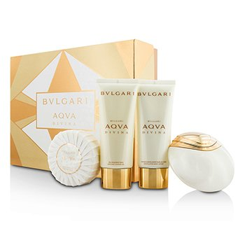 Bvlgari Aqva Divina szett: Eau De Toilette spray 65ml/2.2oz + testápoló lotion 100ml/3.4oz + tusolózselé 100ml/3.4oz + szappan 150g/5oz  4pcs