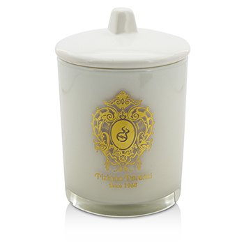 Glass Candle with Gold Decoration & Wooden Wick - Ischia Orchid (White Glass)  170g/6oz