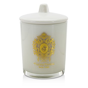 Glass Candle with Gold Decoration & Wooden Wick - Spicy Snow (White Glass)  170g/6oz