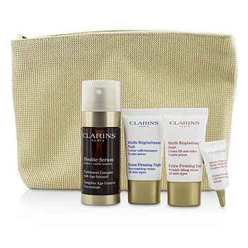 Clarins Expert Age Control Set: Double Serum 30ml + Extra Firming Day Cream 15ml + Night Cream 15ml + Eye Serum 3ml + Bag  4pcs+1bag