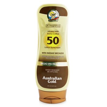 Australian Gold Lotion Sunscreen Broad Spectrum SPF 50 with Instant Bronzer  237ml/8oz