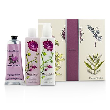 Crabtree & Evelyn Rosewater Essentials Set: Bath & Shower Gel 250ml + Body Lotion 245ml + Ultra-Moisturising Hand Therapy 100g  3pcs