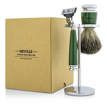 Neville 3 piece Shaving Set: Razor + Pure Badger Shaving Brush + Stand  3pcs