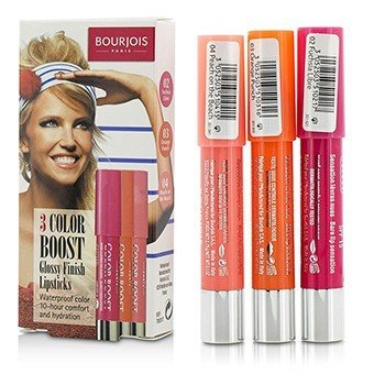 Bourjois 3 Pintalabios Impulso de Color con Acabado Brillante SPF 15 Set: 3x Pintalabios - #02 Fuchsia Libre, #03 Orange Punch, #04 Peach on the Beach  3x2.75g/0.1oz