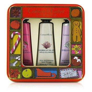クラブツリー&イヴリン Modern Floral Hand Therapy Tin Set  3x25g/0.9oz