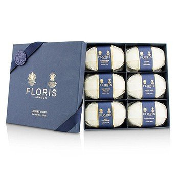 Floris Luxury Soap Collection: (Cefiro, Edwardian Bouquet, Lily of the Valley, Rose Geranium, Stephanotis, White Rose)  6x100g/3.5oz
