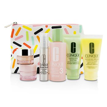 Clinique Travel Set: Sonic Facial Soap + Clarifying Lotion 3 + DDMG + Smart Serum + Moisture Surge Intense + All About Eyes + Bag  6pcs+1bag