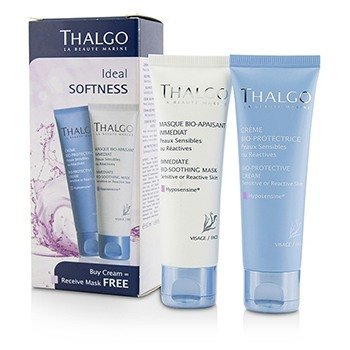 Thalgo Kit Ideal Softness: Crema Bio-Protectora 50ml + Immediate Bio-Soothing Mascarilla 50ml  2pcs