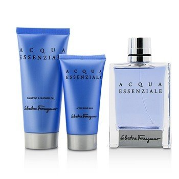 Acqua Essenziale Coffret: Eau De Toilette Spray 100ml/3.4oz + After Shave Balm 50ml/1.7oz + Shower Gel 100ml/3.4oz  3pcs