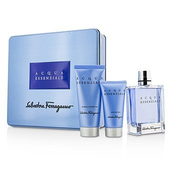 Salvatore Ferragamo Acqua Essenziale Coffret: Eau De Toilette Spray 100ml/3.4oz + Bálsamo Para Después de Afeitar 50ml/1.7oz + Gel de Ducha 100ml/3.4oz  3pcs