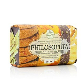 Philosophia Natural Soap - Scrub - Mediterranean Plum, Persimmon & Amber With Bran & Walnut Granules  250g/8.8oz