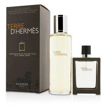 Terre D'Hermes Eau De Toilette Refillable Spray 30ml/1oz + Refill 125ml/4.2oz  2pcs