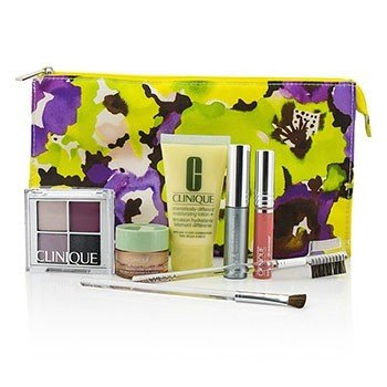 Clinique Travel Set: DDML+All About Eyes+Eye Shadow Quad+Mascara+Long Last Glosswear+Brushx2+Bag  7pcs+1bag