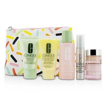 Clinique Set Travel: Sonic Facial Soap + Clarifying Lotion 3 + DDMG + Smart Serum + Moisture Surge Intense +  6pcs+1bag