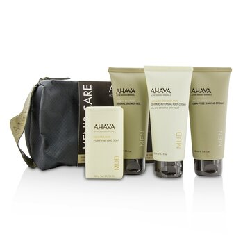 アハバ Men's Care Set: Shaving Cream 100ml + Mineral Shower Gel 100ml + Dermud Intensive Foot Cream 100ml + Purifying Mud Soap 100g  4pcs