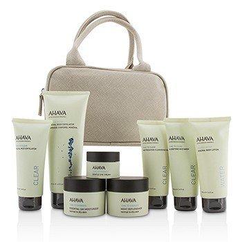 Ahava Essential Beauty Case: Exfoliante Corporal+Loción Corporal+Limpiador+Exfoliante Facial+Mascarilla+Crema de Día+Crema de Noche+Crema de Ojos+Bolsa Beige  8pcs+1bag