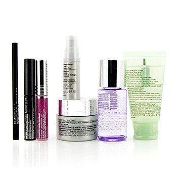 Travel Set: Make Up Remover+Liquid Facial Soap+Cream+Eye Treatment+Skinny Stick+Mascara+Lip Gloss+Bag  7pcs+1bag