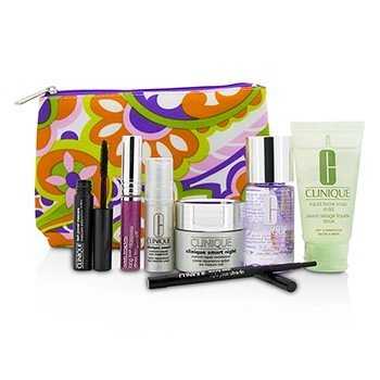 Clinique Zestaw podróżny: Make Up Remover+Liquid Facial Soap+Cream+Eye Treatment+Skinny Stick+Mascara+Lip Gloss+Bag  7pcs+1bag