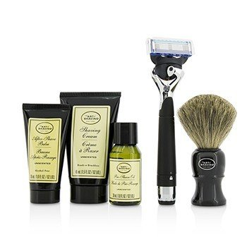 Lexington Collection Power Shave Set: Razor + Brush + Pre Shave Oil + Shaving Cream + After Shave Balm - Without Battery  5pcs